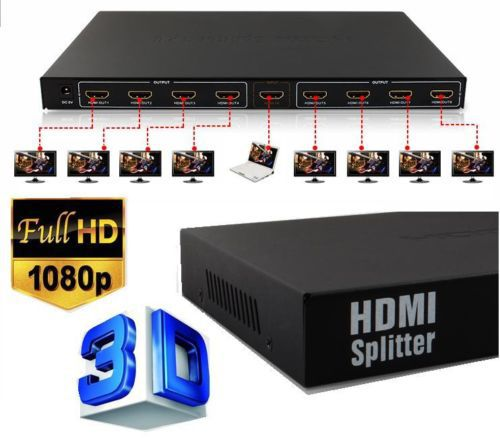 1 In 8 Out Port 1x8 HDMI Splitter Amplifier Repeater Video hub 3D 1080P PS3 PS4 HDTV XBOX tomsenn hdmi splitter 1x4 4 port hub repeater amplifier v1 4 4k 1080p 1 in 4 out