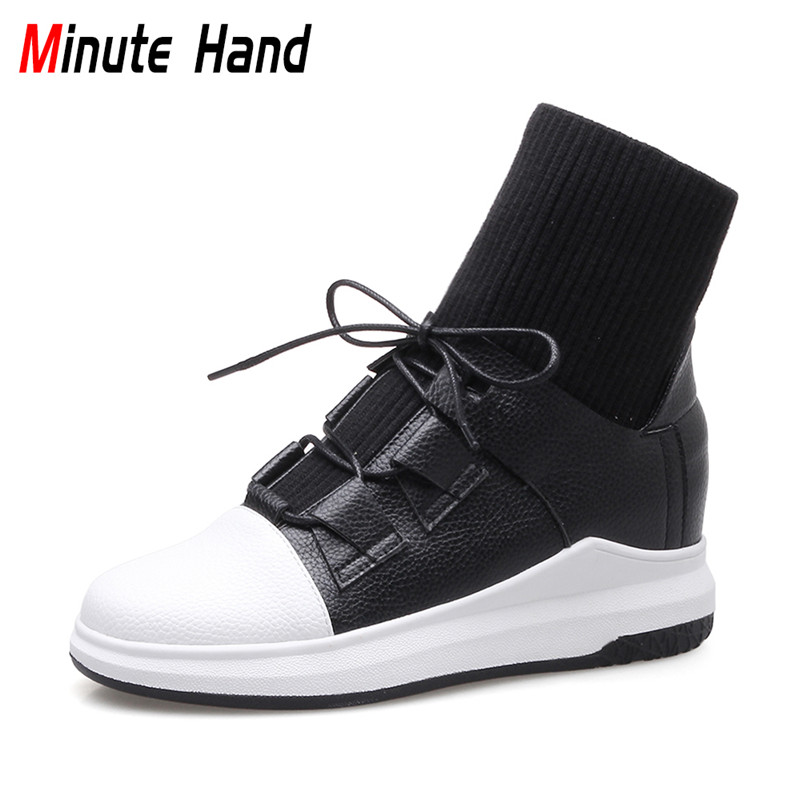 Minute Hand 2018 New Fashion Black High Top Sneakers Women Flat Platform Ankle Boots Lace Up Ladies Casual Shoes Plus Size 33-43 glowing sneakers usb charging shoes lights up colorful led kids luminous sneakers glowing sneakers black led shoes for boys