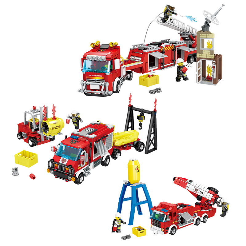 KAZI Rescue Fire Fighting Truck Building Blocks Compatible With Legoed City Firemen Figures Playmobil Bricks Toy for Children