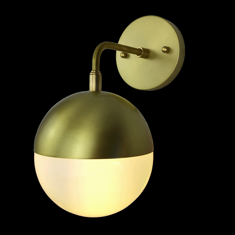 Nordic restaurant, modern minimalist style, living room, bedroom, brass wall lamp copper material milk white glass light fixture half round brass ball copper lampshade fabric wire pendant lamp fixture brass lighting led modern style restaurant bedroom light