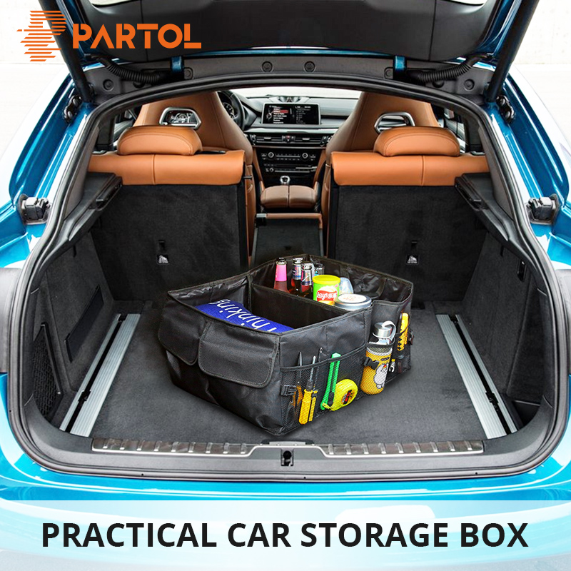 цена на Partol Black Oxford Cloth Big Size Car Trunk Storage Bag Can Be Fold Portable Auto Organize Box for Tools/Food/Drinks Big Volume