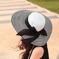 Корейский Стиль 2016 Новый Летний женская Складная Широкий Большой Брим дискеты Пляж Шляпы Полосатый Солнце Соломенная Шляпа Женский Открытый Cap 0996