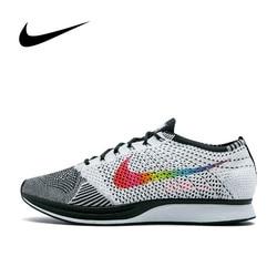 Original Authentic Nike Flyknit Racer Be True Men's Running Shoes Outdoor Sneakers Jogging Athletic Designer Footwear 902366-100