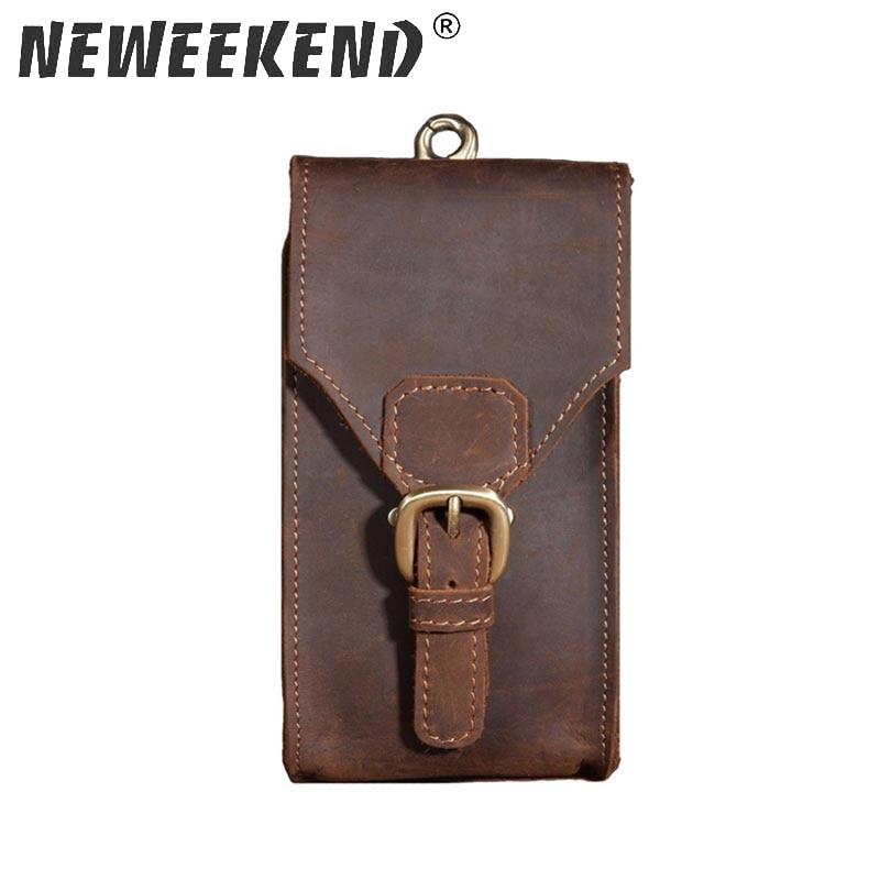 2017 New Men's Genuine Crazy Horse Leather Waist Bag Hip Travel Bum Belt Loops Pack Phone Pocket Wallet Purse For Men B2095 50%