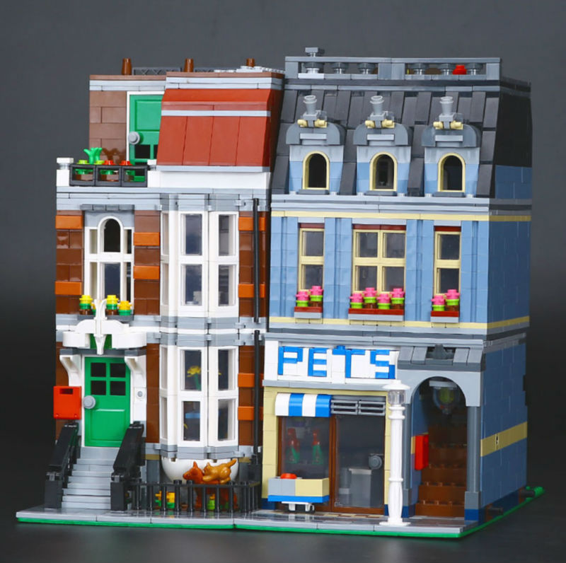 Lepin 15009 2082pcs Creator City Street Pet Shop Educational Model Blocks Bricks Toys Gift Compatible 10218 lepin 15009 city street pet shop model building kid blocks bricks assembling toys compatible 10218 educational toy funny gift