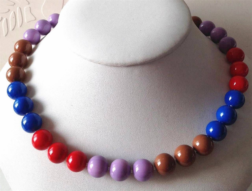 FREE SHIPPING>>@> N3478 colored 12mm sea shells noble pearl necklace 18 new new NEW