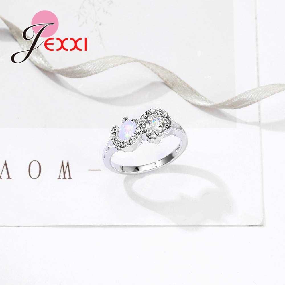 เกลียว S Shaped Design 925 เงินสเตอร์ลิงกรงเล็บรูปไข่โอปอล Zirconas ครบรอบสตรีงานแต่งงานแหวนนิ้วมือ