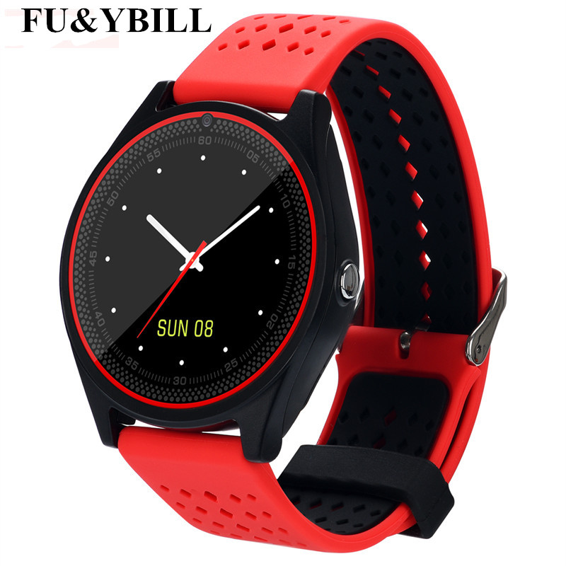 Fu&y Bill V9 Smart Watch with Camera Bluetooth Smartwatch SIM Card Wristwatch for Android Phone Wearable Devices pk dz09 A1 gt08