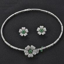 Exquisite Blume Form bijoux mariage hochzeit dekorationen Big Zirkonia Schmuck Set Afrika Stil
