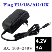 4.2V 3A 5.5*2.1mm AC DC Power Supply Adapter Charger For 1series 4.2V 3.7V 3.6V 18650 Li-ion Li-po Battery Free Shipping xinmore 87v 8a 7a 6a lead acid batt charger for 72v e bike li ion battery pack ac dc power supply for electric tool