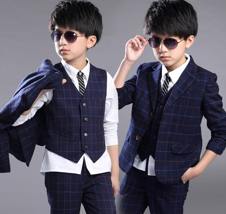 New Big Boy Clothes Sets Plaid Blazer Coat+Pants+Vest+white shirt 4 piece Suit Outfit Kids Children Clothing For Wedding Party t016 new fashion boy suit jacket children show host children s piano vest suit t shirt vest pants bow tie boy blazer suit