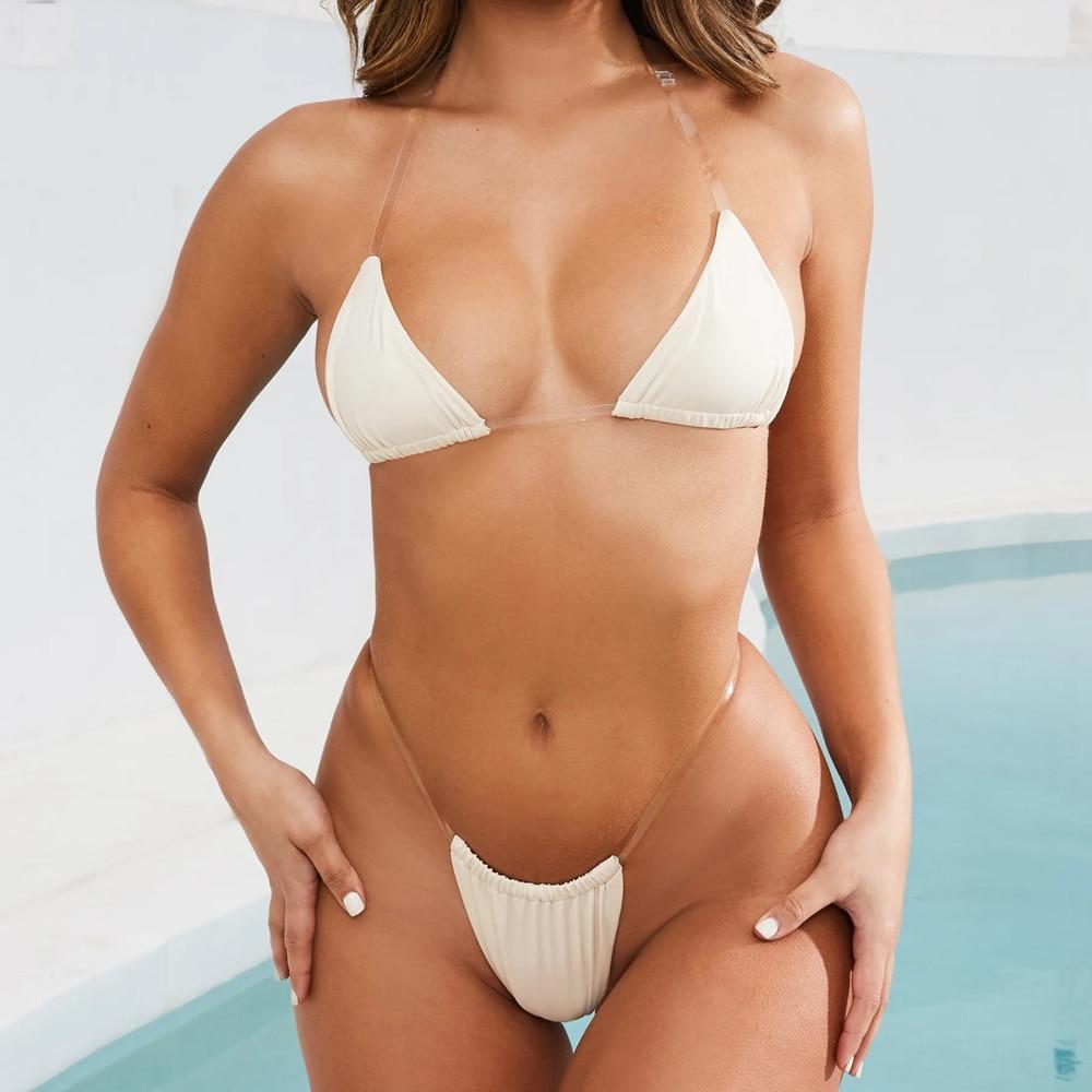 12887e9e3089 SBART Bikini Sexy transparente cadena Micro Bikini traje de baño mujer  traje de baño femenino separado Bikini brasileño Tanga Biquini 2019