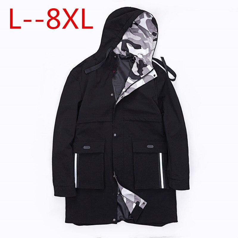8XL 6XL 10X croix ruban pardessus hommes haute rue mode impression Hip Hop Punk Style longue à capuche Trench veste mâle lâche manteau