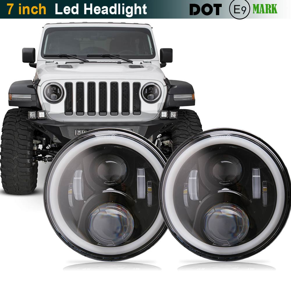 7 Inch Round Led Headlights DRL & Hi/Lo Beam & Amber Turn Light for Jeep Wrangler JK TJ LJ CJ Rubicon Sahara Unlimited Hummer 2x dot 7 inch led headlights turn signal drl bulbs set kit projector 90w for jeep wrangler jk lj jku tj cj sahara rubicon