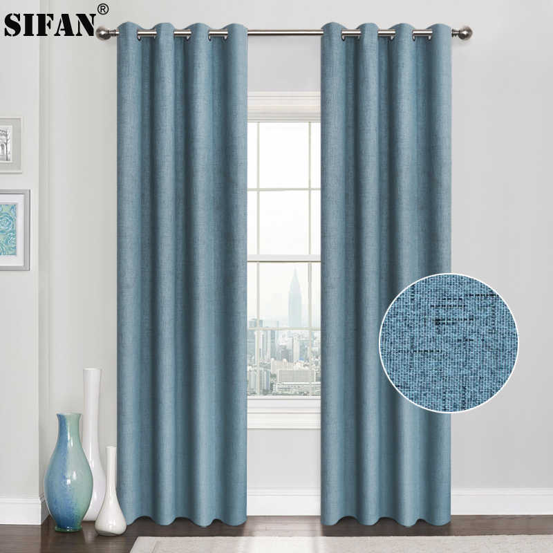 Plaid 100% Blackout Curtain For Living Room Darpe Faux Linen Curtains for Bedroom Rideaux Window Customized Cortina