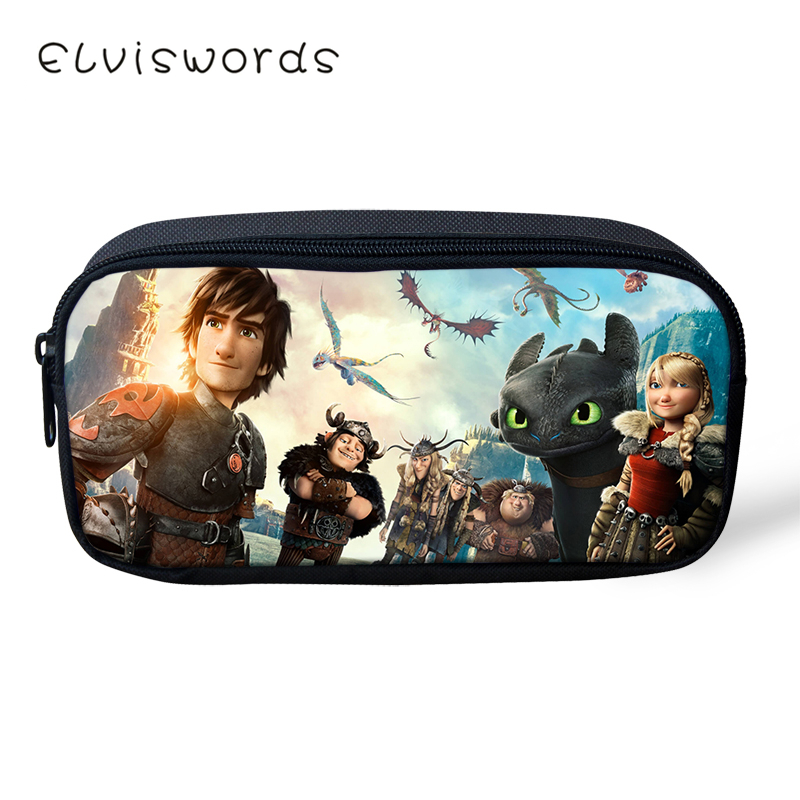 ELVISWORDS How To Train Your Dragon Printing Pencil Case For Students Children Boys Girls Stationery School Supplies Pencil Box