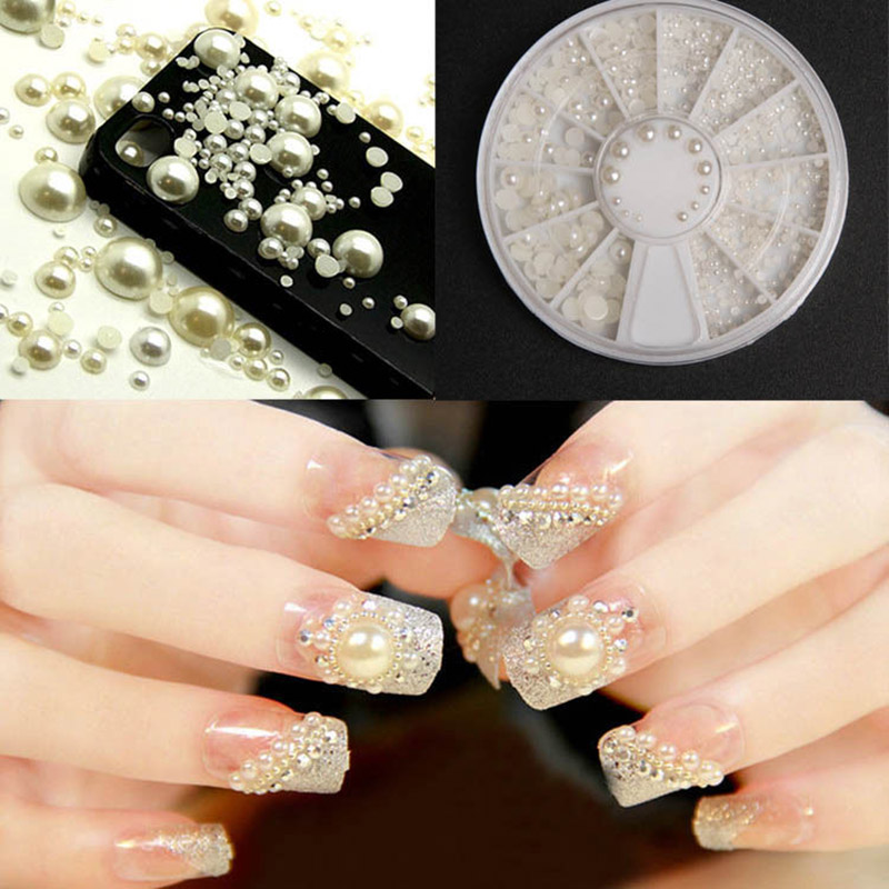 Nail Art decorations 4 Sizes Half-Round White Pearl Nail Art Tips Studs Glitter Wheel 3D Nails DIY Rhinestones Decorations ZP054 3d white pearl nail art rhinestones 1 wheel 3 sizes nail beads wheel diy manicure nail decorations