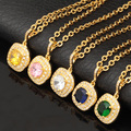 U7 Luxury Cubic Zircon Necklace Women Jewelry Fashion 10 Colors Yellow Gold Plated Pendant Necklace Wholesale P607