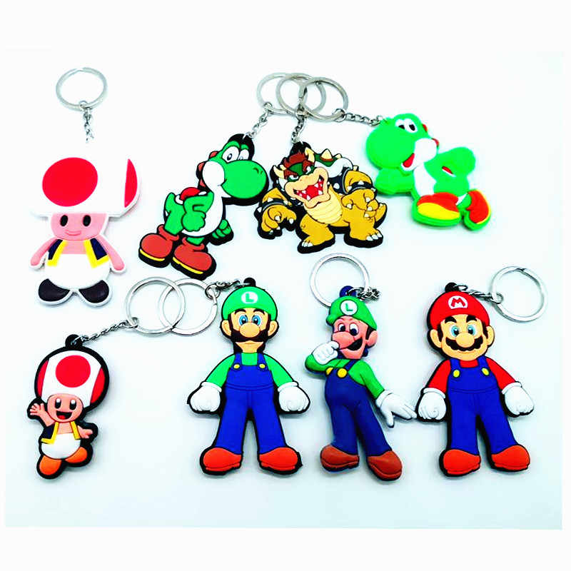 ... Game Super Mario Bros pvc key chain Luigi Mario Peach princess Bowser  cartoon figures keyring man ... 3a1c55917