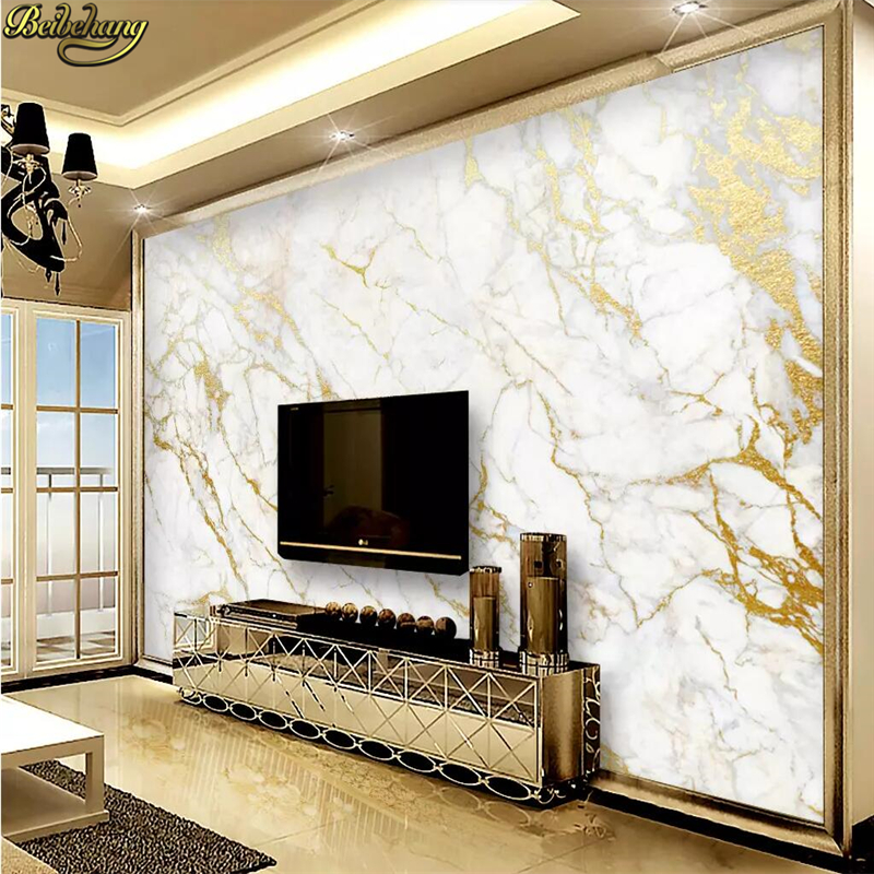 Beibehang Custom Wallpaper Mural Gold Silk Jazz White Marble Wall Papers Home Decor Wallpapers For Living Room Papel De Parede