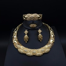 New Fashion wedding jewelry sets Women Bridal Dubai gold plated African beads exaggerate Necklace Bangle tassel earrings Ring fashion women bridal dubai gold plated wedding jewelry sets african beads accessories exaggerate necklace bangle earrings ring