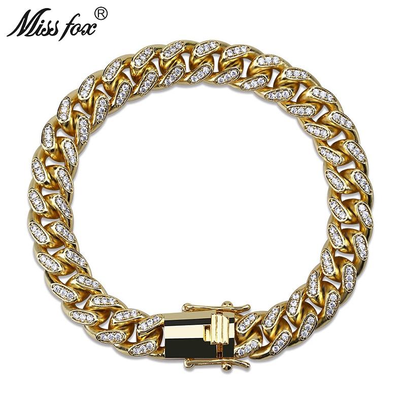 MISSFOX hip hop 10mm CZ diamant Micro clouté haute tempérament 18 k plaqué or bijoux de luxe Bracelet bras homme personnalisé-in Bracelets ficelle et chaîne from Bijoux et Accessoires    1