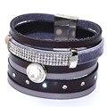 Leather wrap bracelet,Brazilian Style wide Magnetic wrap bracelets,real leather bracelet with magnetic clasp B1008