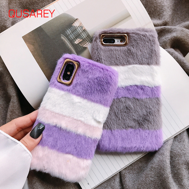 Qusarey Luxury Plush Color Matching Phone Case For iphone 6S X 6 7 8 Plus XR XS MAX Fashion Plaid Case for Winter Gold Camera