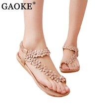 Women shoes flat sandals comfort gladiator sandals women flip flops Summer Classic beading 2018 fashion Summer flower sandalias