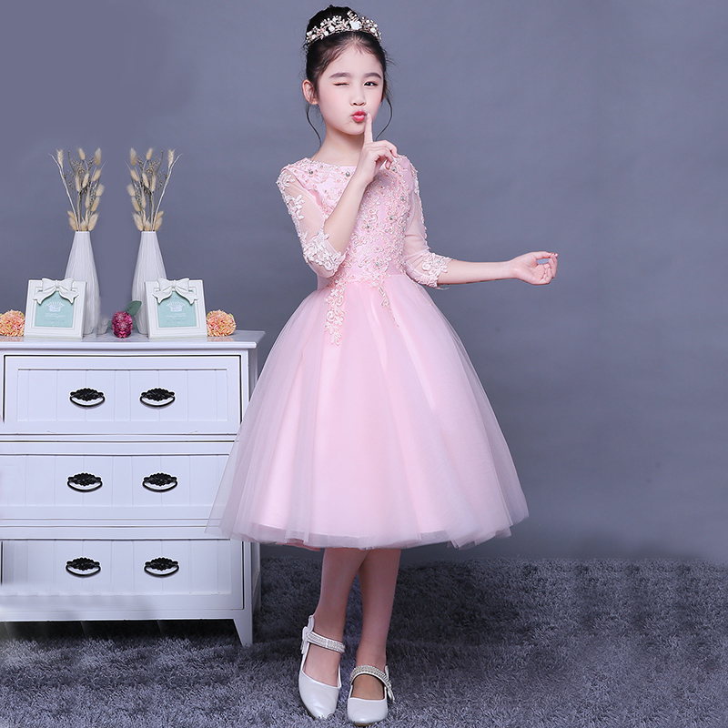 Princess birthday dresses baby pink ball gown prom wedding dress mini tutu clothes flower girl white dress fashion beauty QY132