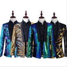 Sequins Steampunk Mens Coat Suit Jacket Singer Pop Cool Modern Blazer Suit For Men Gray Blue Red Plus Size 2XL(China)