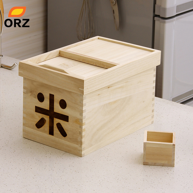 ORZ Wooden Rice Sorghum Nut Storage Box Container Grain Large