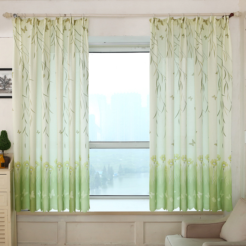 Willow Leaf Butterfly Printed Short Blackout Curtains For Kitchen Bedroom  Balcony Living Room Decoration Shading Rate  Short Blackout Curtains