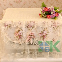 Romantic Pastoral Style Flower Print Microwave Oven Cover Lace Dust Proof Cover for Kitchen Home Decor