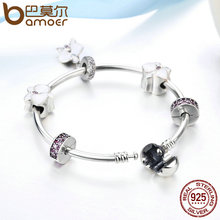 Authentic 925 Sterling Silver Orchid Charm Bracelets
