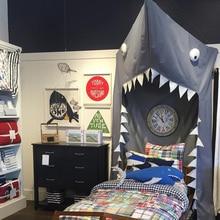 INS kamimi black Shark Canopy mosquito net bersih Kids Bed bayi bilik hiasan anak-anak tidur pintu jenis kapas corak haiwan A983