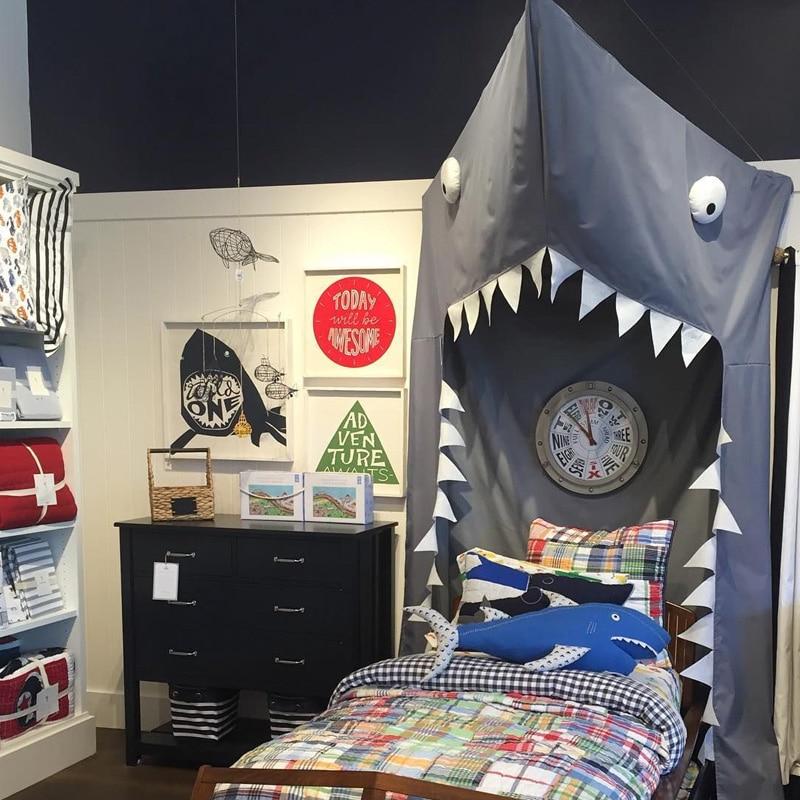 INS kamimi black Shark Canopy mosquito net Kids Bed Net baby room decor children bed door type cotton animal pattern A983