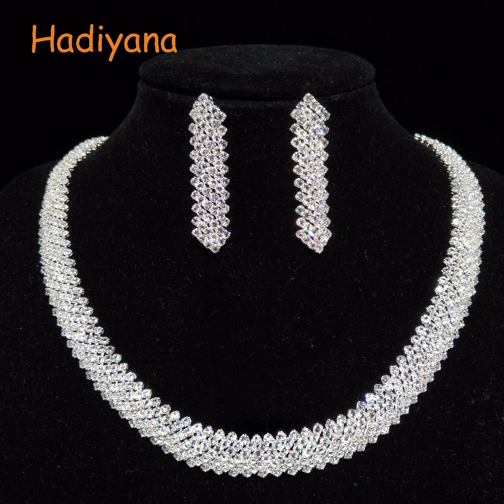 HADIYANA Fashion Jewelry Set For Girls Attractive Wedding Bridal Jewelry Pendent Sets With Sparkling Crystal Zirconias BN6357