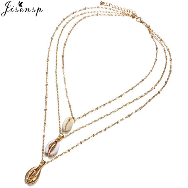 Jisensp Vintage Multilayer Seashell Vòng Cổ Vòng Cổ cho Phụ Nữ Tự Nhiên Vàng Vỏ Cowrie Quyến Rũ Mặt Dây Chuyền Vòng Cổ Phụ Kiện kolye