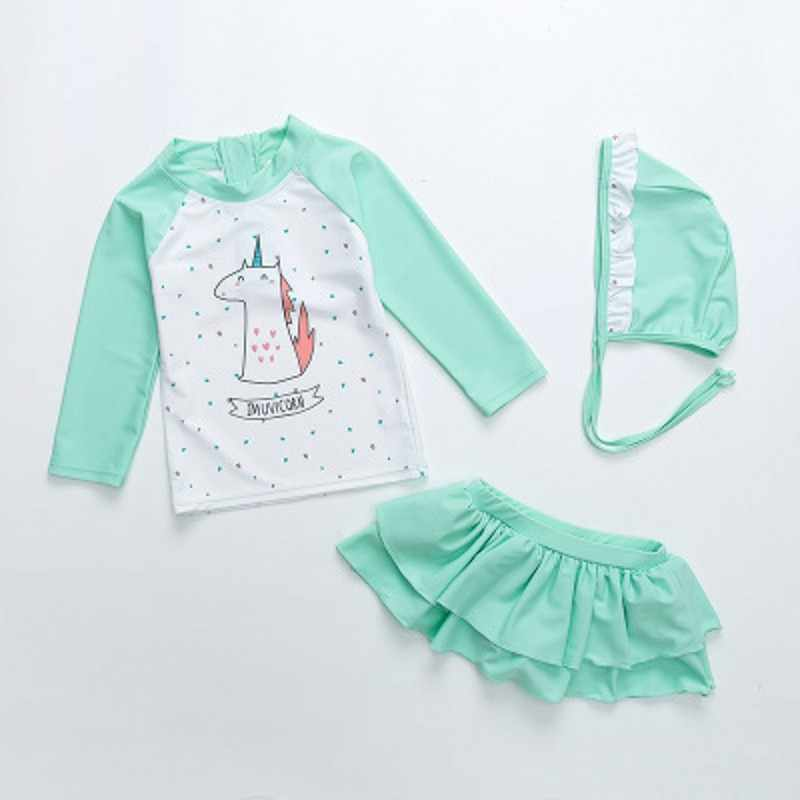7fc34f4f9aa6 NEW Cute Kids Baby Girls Long Sleeve bathing 3Piece Suit Cartoon Swimsuit  Swimwear Unicorn Outfits Summer
