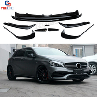W176 Front Bumper Lip Splitter Canards for Mercedes A Class W176 A160 A180 A200 A250 A45 AMG Facelift 2016 +