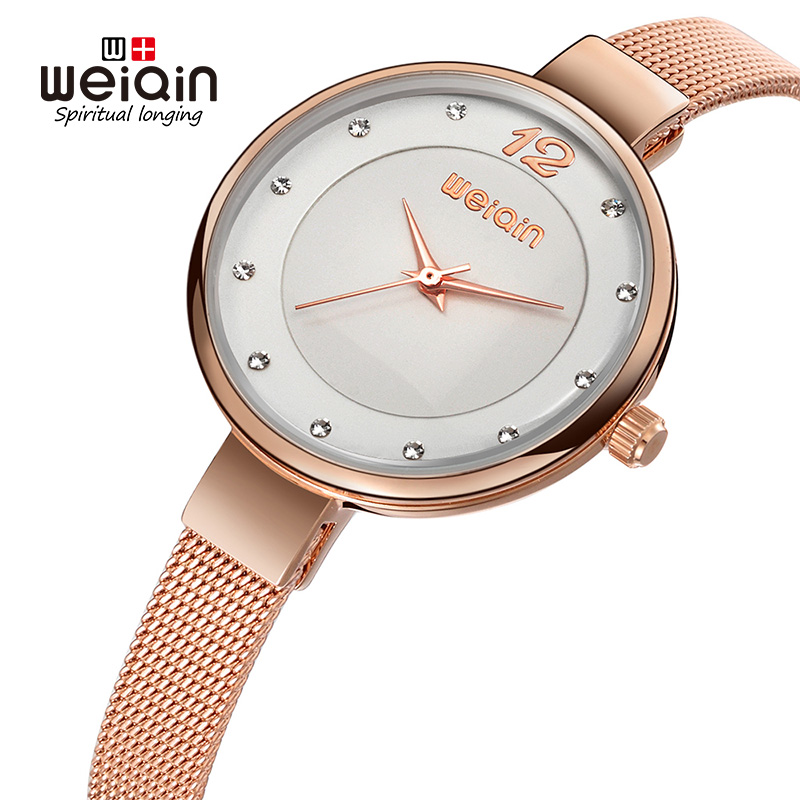 WEIQIN 2107 Popular Silver Fashion Women Watches Diamond Dial Full Steel Bracelet Dress Watch Women Slim Mujeres reloj kol saati wireless service call bell system popular in restaurant ce passed 433 92mhz full equipment watch pager 1 watch 7 call button