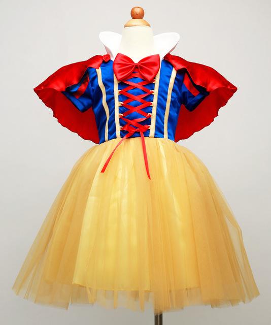 Moda carnaval meninas snowwhite vestir trajes para as crianças duas peças tutu vestido conjunto