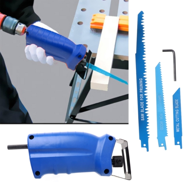 Reciprocating Saw Attachment For Wood Metal Cutting Trimming Tool with 3 Blades Dls HOmeful 1