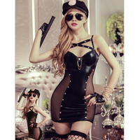 9909 Free Shipping Sexy Police Women Cosplay Costume Sexy Cop Uniform Sexy Halloween Cop Cosplay Uniform