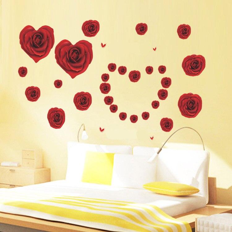 Romantic Love Heart 3D DIY Red Rose Flower Wall Sticker Home Decor ...