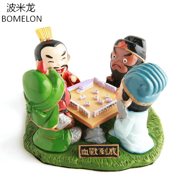 Kawaii Playing Mahjong Three kingdoms Toys Figure Resin Doll Desk Decoration Original Handmade Chinese Craft Kids Christmas Gift romance of the three kingdoms teens version for children kids learn chinese educational book with pin yin chinese edition