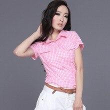 Veri Gude Летний Стиль С Коротким Рукавом Плед Рубашки Женщины Хлопок Блузки Slim Fit 6 Цвета