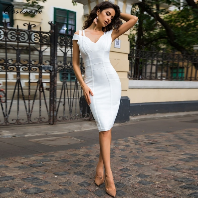Free Shipping Ocstrade Sexy White Bodycon Dress for Women 2018 New Arrival Summer Off Shoulder Knee Length Bandage Party Dresses