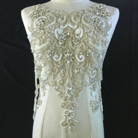 2018 Style Deluxe handmade large Rhinestone bodice crystal applique for wedding dress French Lace Sinblood Terry Malick BallGown